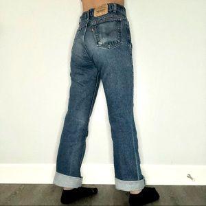 vintage 517 orange tab 90s levi's dark wash jeans